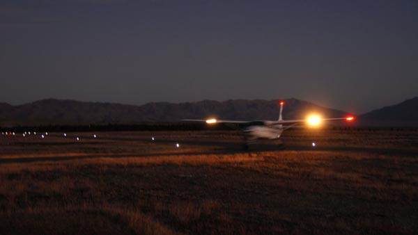 LED runway lighting system in use