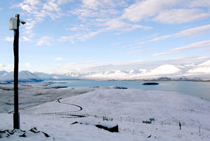 The Tekapo Tourism webcam after a fall of snow